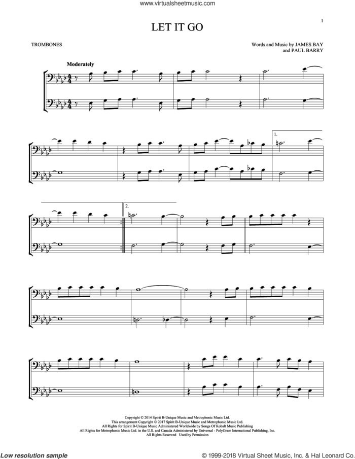 Let It Go sheet music for two trombones (duet, duets) by James Bay and Paul Barry, intermediate skill level