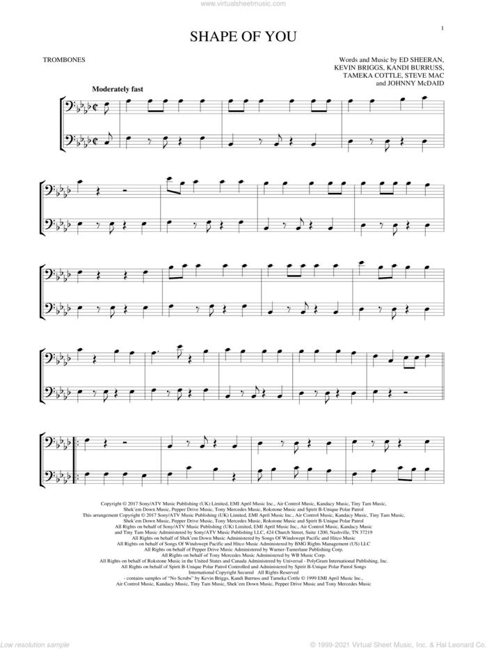 Shape Of You sheet music for two trombones (duet, duets) by Ed Sheeran, Johnny McDaid, Kandi Burruss, Kevin Briggs, Steve Mac and Tameka Cottle, intermediate skill level