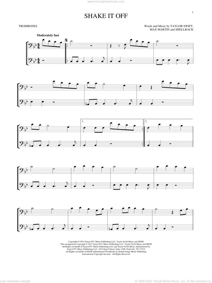Shake It Off sheet music for two trombones (duet, duets) by Taylor Swift, Johan Schuster, Max Martin and Shellback, intermediate skill level