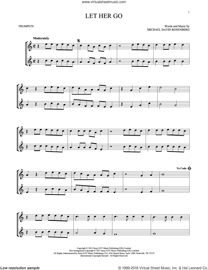 Let Her Go sheet music for two trumpets (duet, duets) by Passenger and Michael David Rosenberg, intermediate skill level