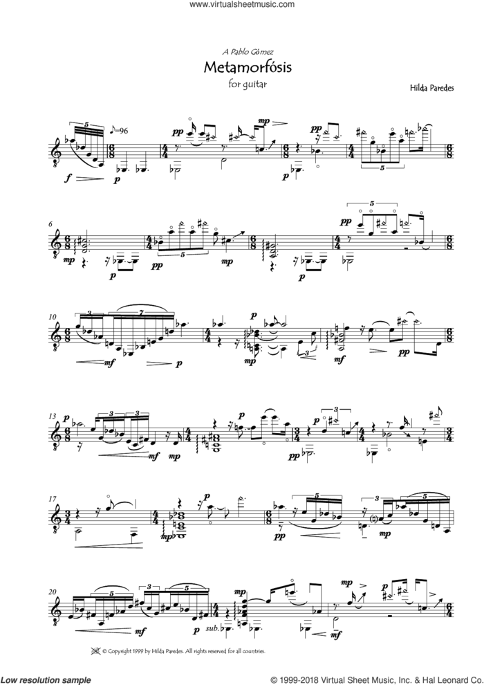 Metamorfosis sheet music for guitar solo by Hilda Paredes, classical score, intermediate skill level