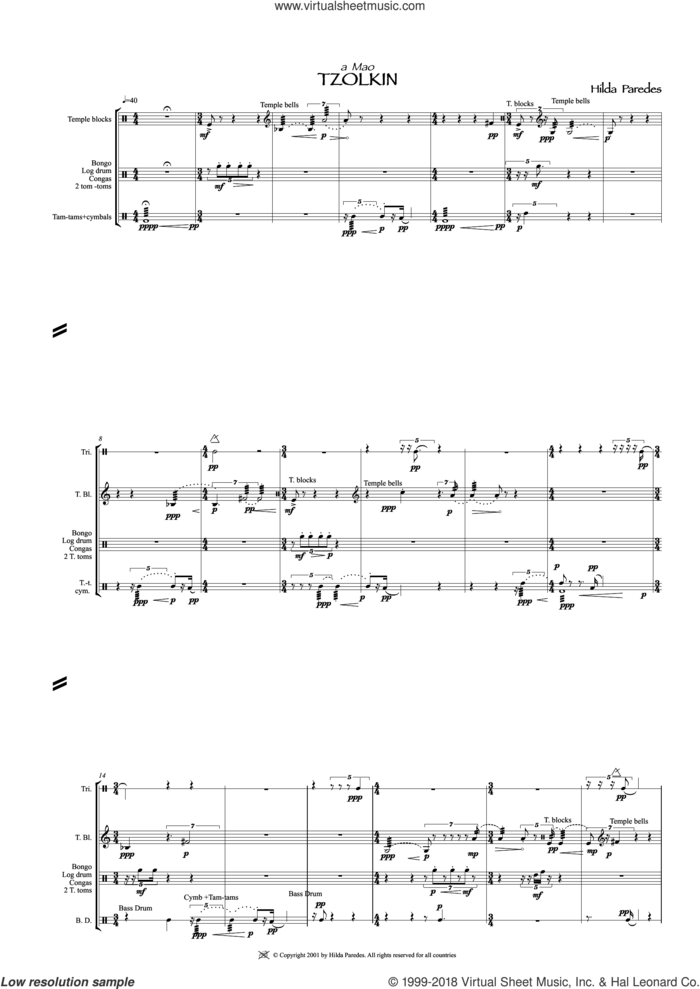 Tzolkin sheet music for percussions by Hilda Paredes, classical score, intermediate skill level