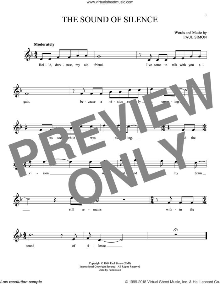 The Sound Of Silence sheet music for ocarina solo by Simon & Garfunkel and Paul Simon, intermediate skill level