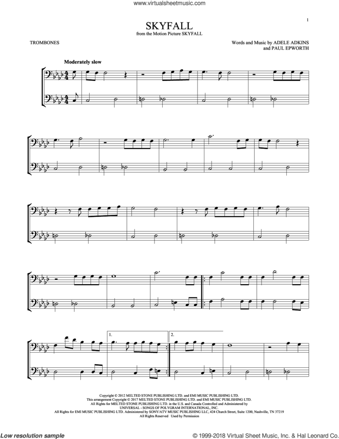 Skyfall sheet music for two trombones (duet, duets) by Adele, Adele Adkins and Paul Epworth, intermediate skill level