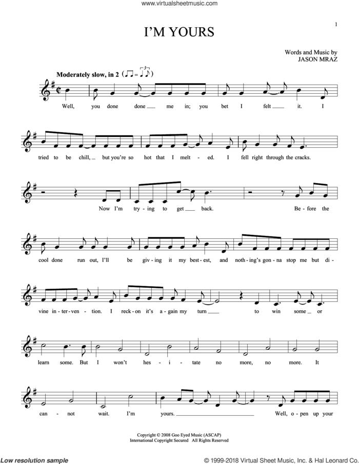 I'm Yours sheet music for ocarina solo by Jason Mraz, wedding score, intermediate skill level