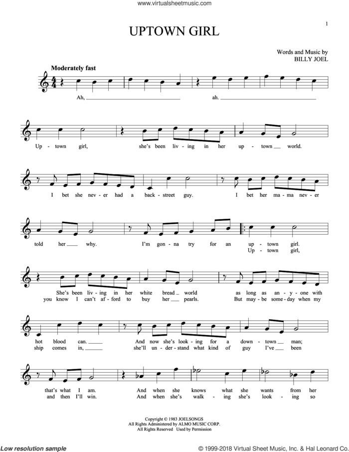 Uptown Girl sheet music for ocarina solo by Billy Joel, intermediate skill level