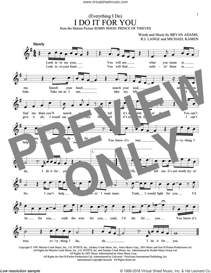 (Everything I Do) I Do It For You sheet music for ocarina solo by Bryan Adams, Michael Kamen and Robert John Lange, intermediate skill level