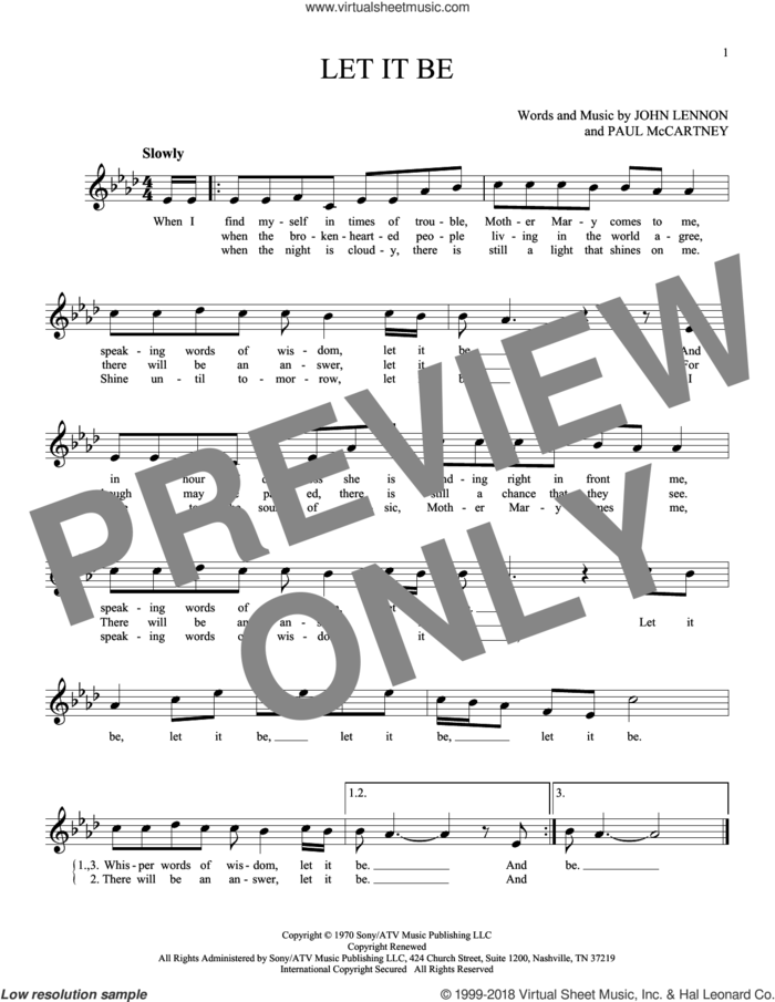 Let It Be sheet music for ocarina solo by The Beatles, John Lennon and Paul McCartney, intermediate skill level
