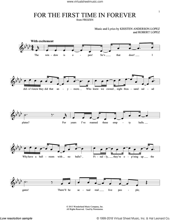 For The First Time In Forever (from Disney's Frozen) sheet music for ocarina solo by Kristen Bell, Idina Menzel, Kristen Anderson-Lopez and Robert Lopez, intermediate skill level