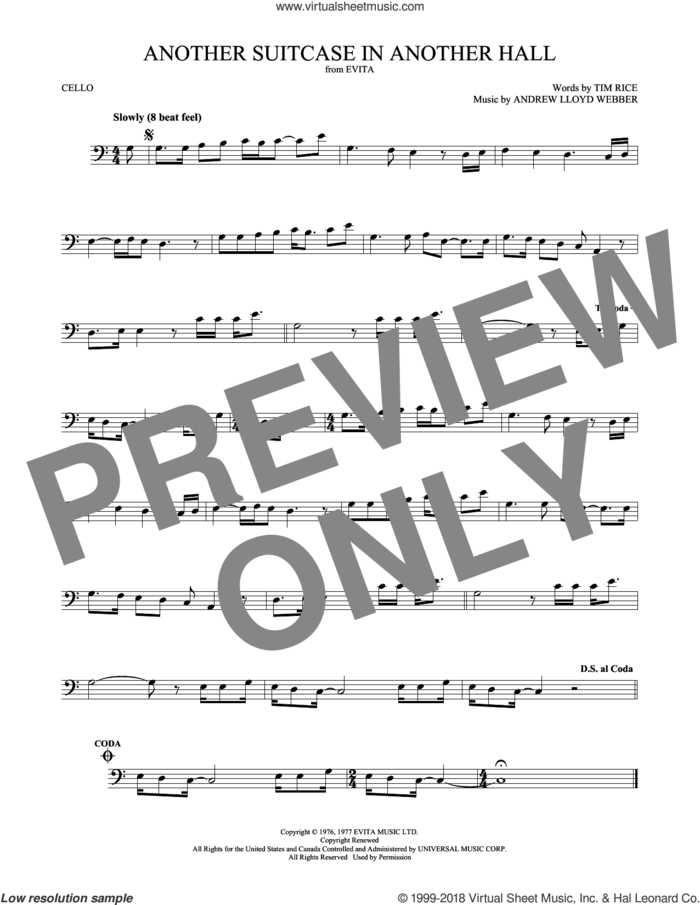 Another Suitcase In Another Hall sheet music for cello solo by Andrew Lloyd Webber and Tim Rice, intermediate skill level