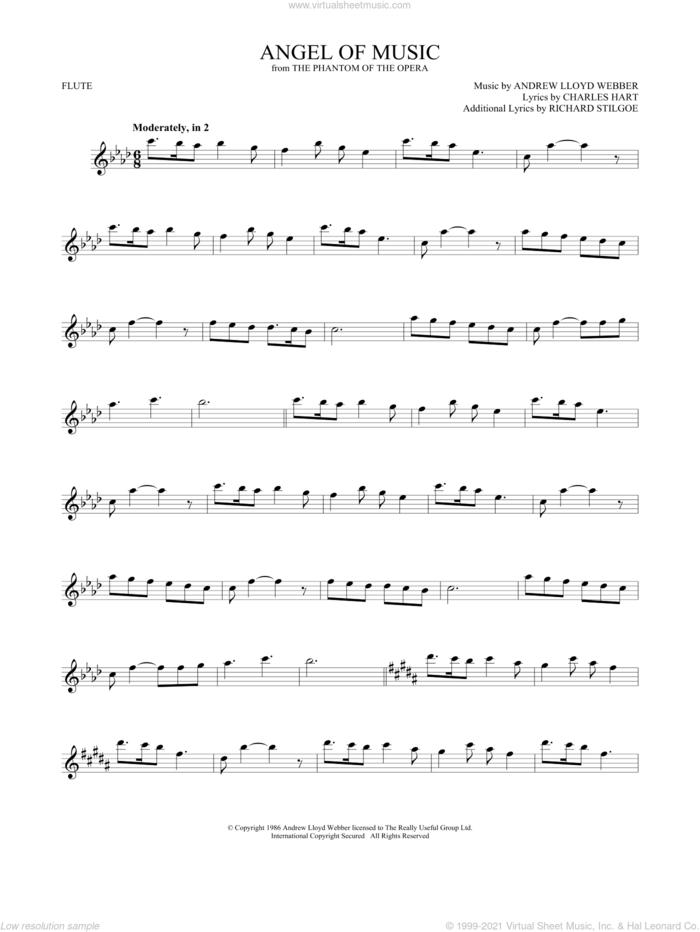 Angel Of Music (from The Phantom Of The Opera) sheet music for flute solo by Andrew Lloyd Webber, Charles Hart and Richard Stilgoe, intermediate skill level
