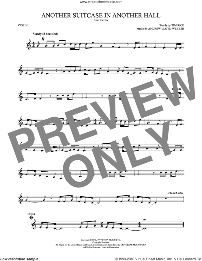Another Suitcase In Another Hall sheet music for violin solo by Andrew Lloyd Webber and Tim Rice, intermediate skill level