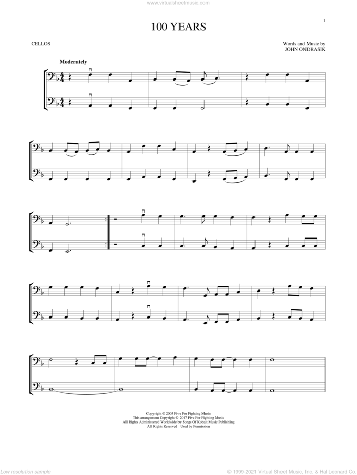100 Years sheet music for two cellos (duet, duets) by Five For Fighting and John Ondrasik, intermediate skill level
