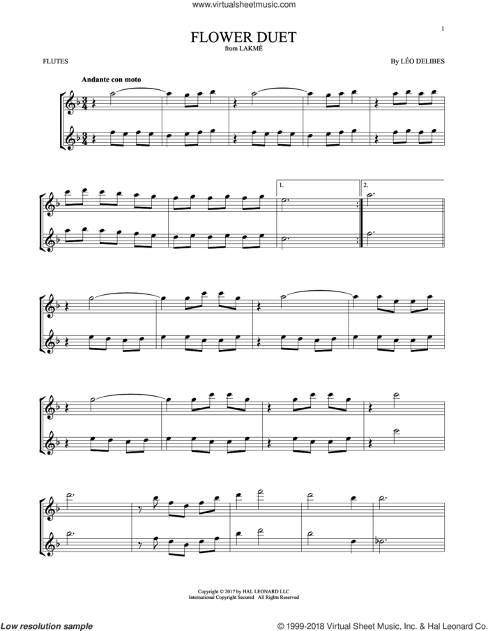 Flower Duet sheet music for two flutes (duets) by Leo Delibes and Leo Delibes, classical score, intermediate skill level