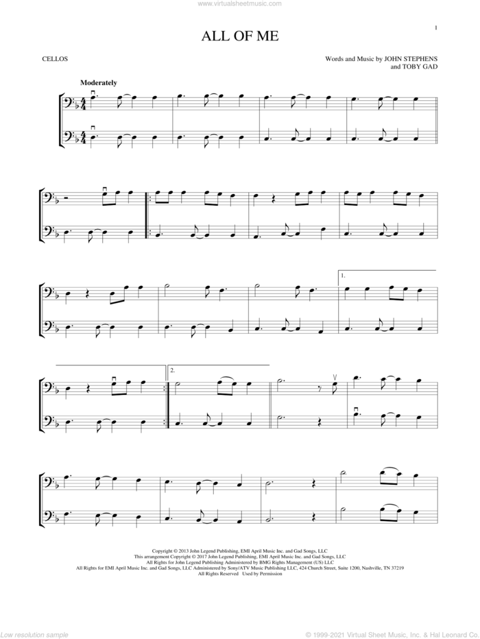 All Of Me sheet music for two cellos (duet, duets) by John Legend, John Stephens and Toby Gad, wedding score, intermediate skill level