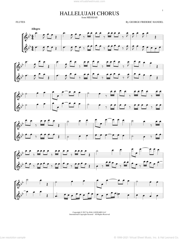 Hallelujah Chorus sheet music for two flutes (duets) by George Frideric Handel, classical score, intermediate skill level