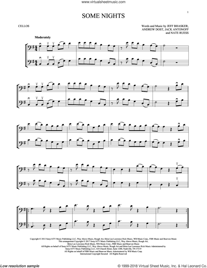 Some Nights sheet music for two cellos (duet, duets) by Jeff Bhasker, Fun, Andrew Dost, Jack Antonoff and Nate Ruess, intermediate skill level