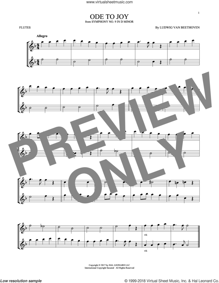 Ode To Joy sheet music for two flutes (duets) by Ludwig van Beethoven, classical score, intermediate skill level