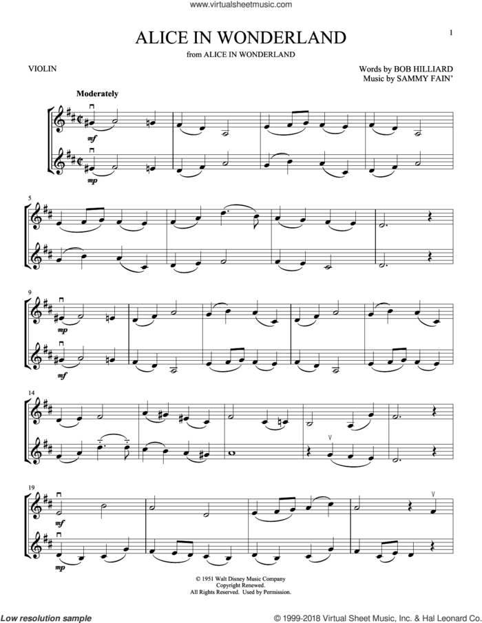Alice In Wonderland sheet music for two violins (duets, violin duets) by Sammy Fain, Bill Evans and Bob Hilliard, intermediate skill level