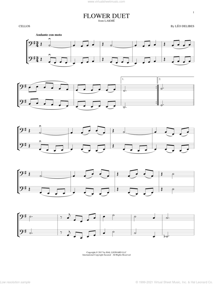 Flower Duet sheet music for two cellos (duet, duets) by Leo Delibes and Leo Delibes, classical score, intermediate skill level