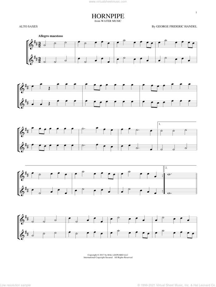 Hornpipe sheet music for two alto saxophones (duets) by George Frideric Handel, classical score, intermediate skill level