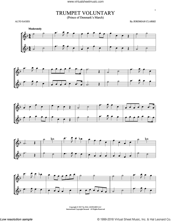 Trumpet Voluntary sheet music for two alto saxophones (duets) by Jeremiah Clarke, classical score, intermediate skill level