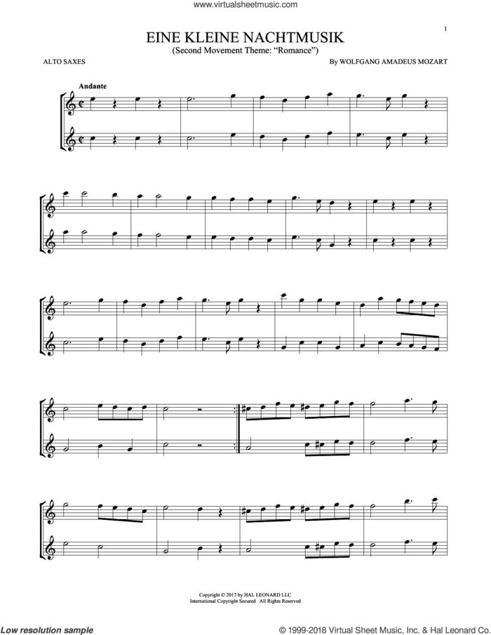 Eine Kleine Nachtmusik sheet music for two alto saxophones (duets) by Wolfgang Amadeus Mozart, classical score, intermediate skill level