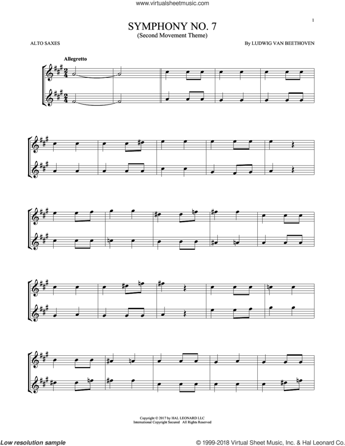 Symphony No. 7 In A Major, Second Movement (Allegretto) sheet music for two alto saxophones (duets) by Ludwig van Beethoven, classical score, intermediate skill level
