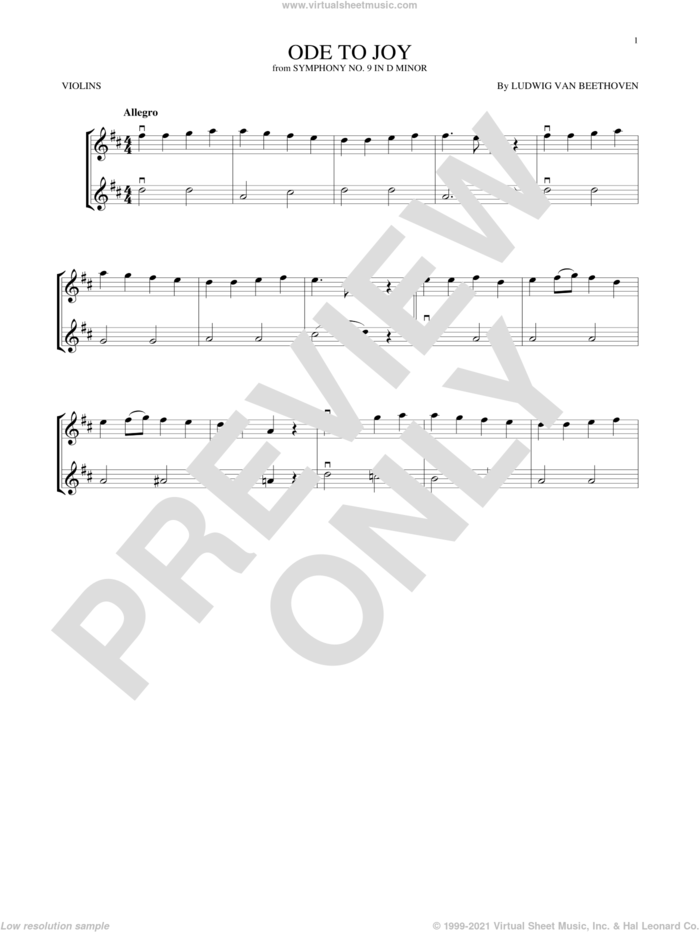 Ode To Joy sheet music for two violins (duets, violin duets) by Ludwig van Beethoven, classical score, intermediate skill level