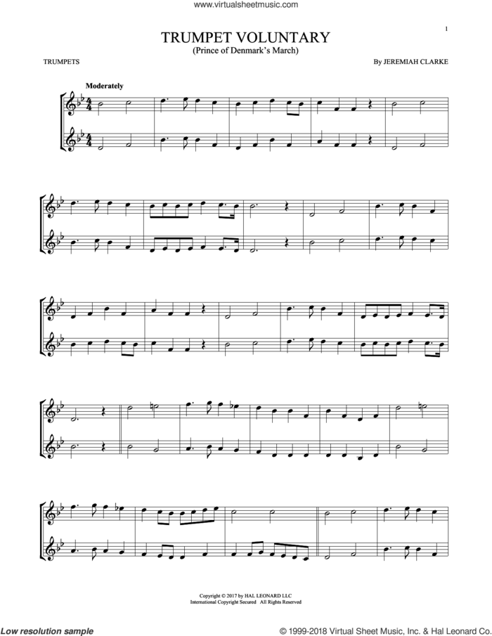 Trumpet Voluntary sheet music for two trumpets (duet, duets) by Jeremiah Clarke, classical score, intermediate skill level