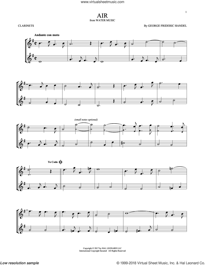 Air sheet music for two clarinets (duets) by George Frideric Handel, classical score, intermediate skill level