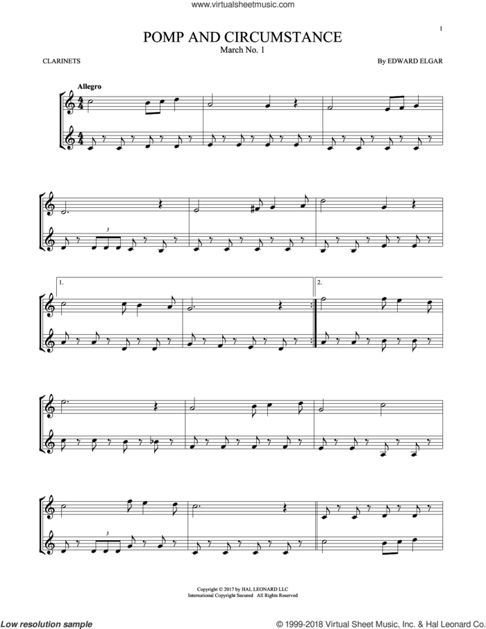 Pomp And Circumstance, March No. 1 sheet music for two clarinets (duets) by Edward Elgar, classical score, intermediate skill level
