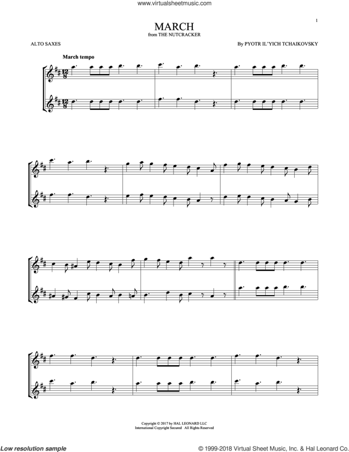March, Op. 71a sheet music for two alto saxophones (duets) by Pyotr Ilyich Tchaikovsky, classical score, intermediate skill level
