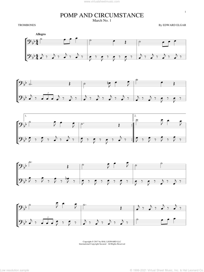 Pomp And Circumstance, March No. 1 sheet music for two trombones (duet, duets) by Edward Elgar, classical score, intermediate skill level