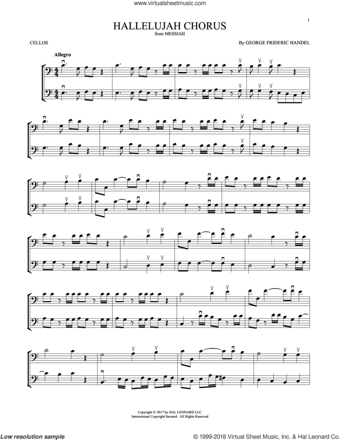 Hallelujah Chorus sheet music for two cellos (duet, duets) by George Frideric Handel, classical score, intermediate skill level