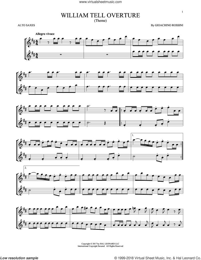 William Tell Overture sheet music for two alto saxophones (duets) by Rossini, Gioacchino, classical score, intermediate skill level