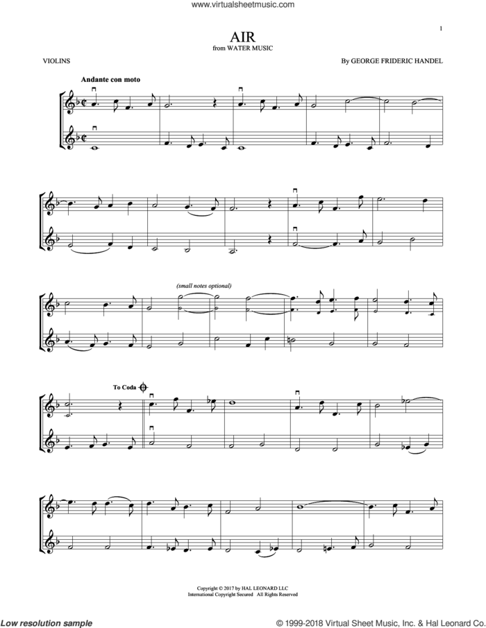Air sheet music for two violins (duets, violin duets) by George Frideric Handel, classical score, intermediate skill level