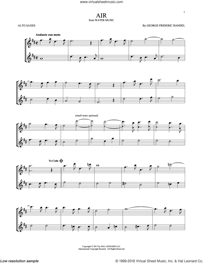 Air sheet music for two alto saxophones (duets) by George Frideric Handel, classical score, intermediate skill level