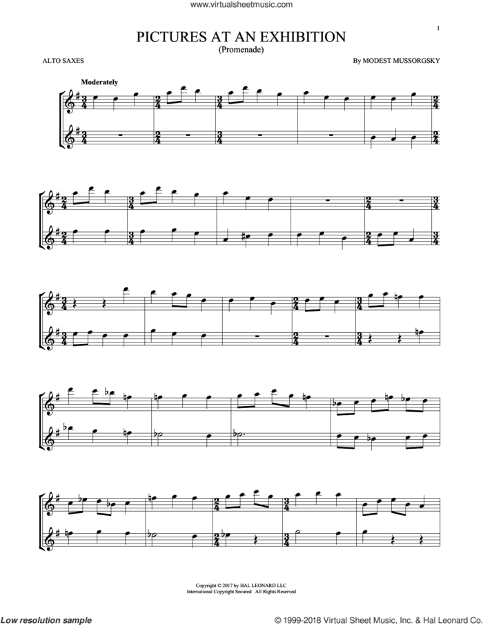 Pictures At An Exhibition (Theme) sheet music for two alto saxophones (duets) by Modest Petrovic Mussorgsky, classical score, intermediate skill level
