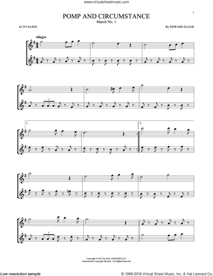 Pomp And Circumstance, March No. 1 sheet music for two alto saxophones (duets) by Edward Elgar, classical score, intermediate skill level