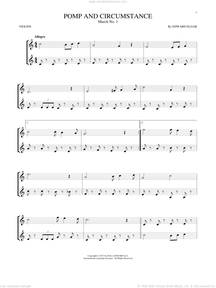 Pomp And Circumstance, March No. 1 sheet music for two violins (duets, violin duets) by Edward Elgar, classical score, intermediate skill level