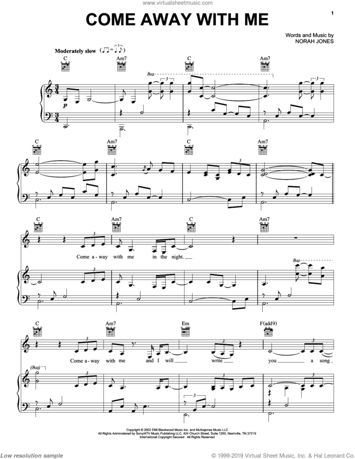 Come Away With Me sheet music for voice, piano or guitar by Norah Jones, intermediate skill level