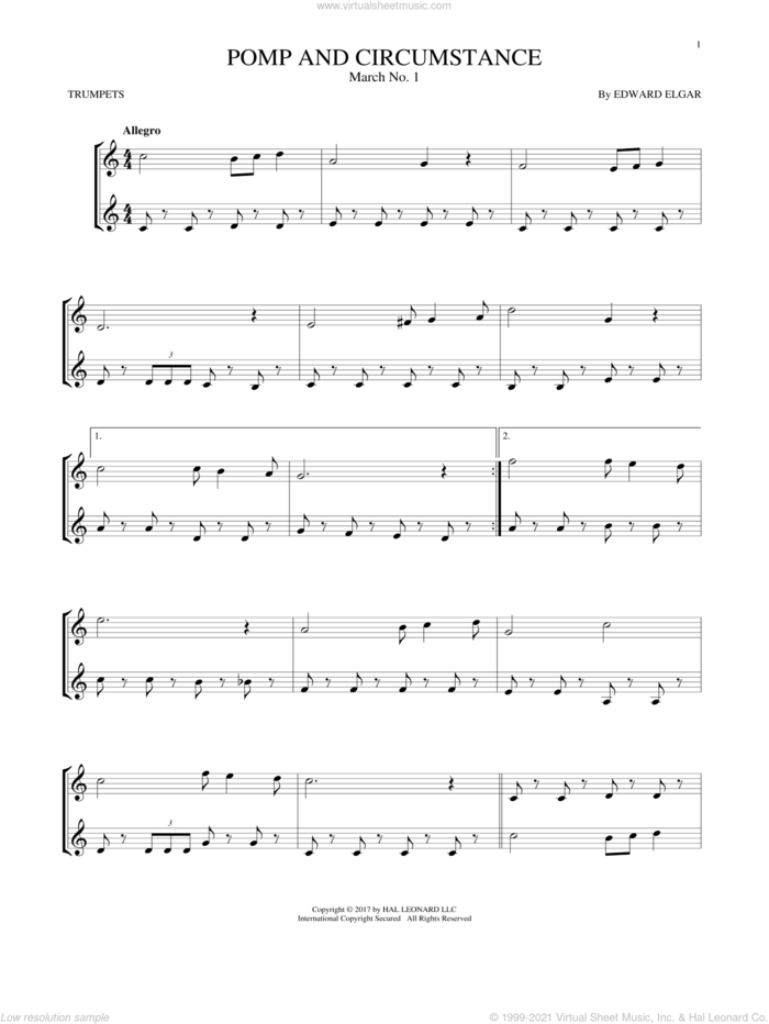 Pomp And Circumstance, March No. 1 sheet music for two trumpets (duet, duets) by Edward Elgar, classical score, intermediate skill level