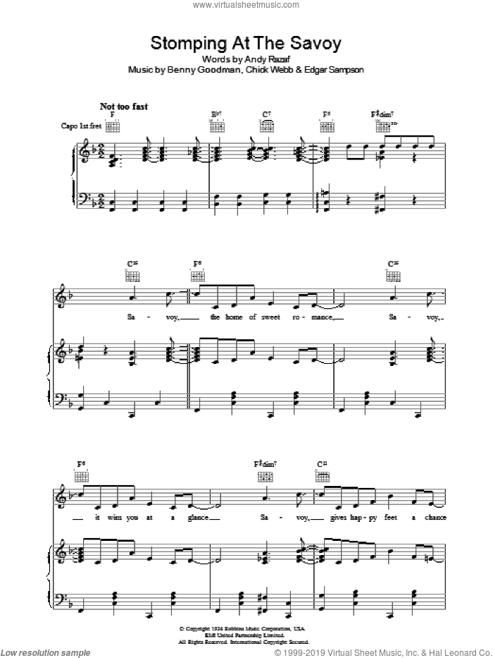 Stomping At The Savoy sheet music for voice, piano or guitar by Benny Goodman, Andy Razaf, Chick Webb and Edgar Sampson, intermediate skill level