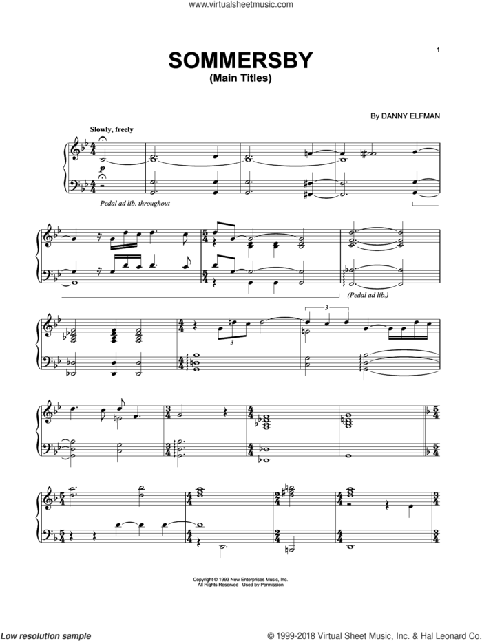 Sommersby - Main Titles sheet music for piano solo by Danny Elfman, intermediate skill level