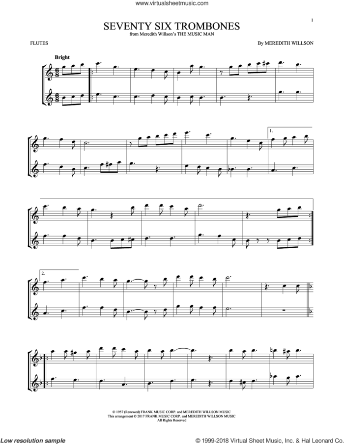 Seventy Six Trombones sheet music for two flutes (duets) by Meredith Willson, intermediate skill level