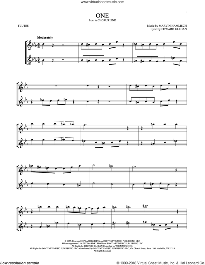 One sheet music for two flutes (duets) by Marvin Hamlisch and Edward Kleban, intermediate skill level