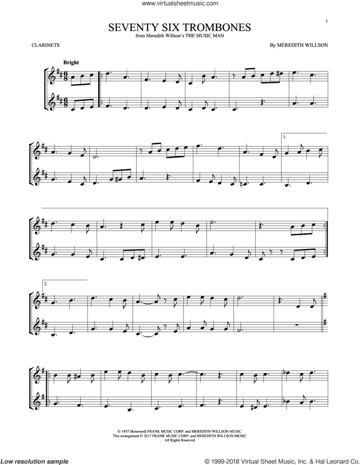 Seventy Six Trombones sheet music for two clarinets (duets) by Meredith Willson, intermediate skill level