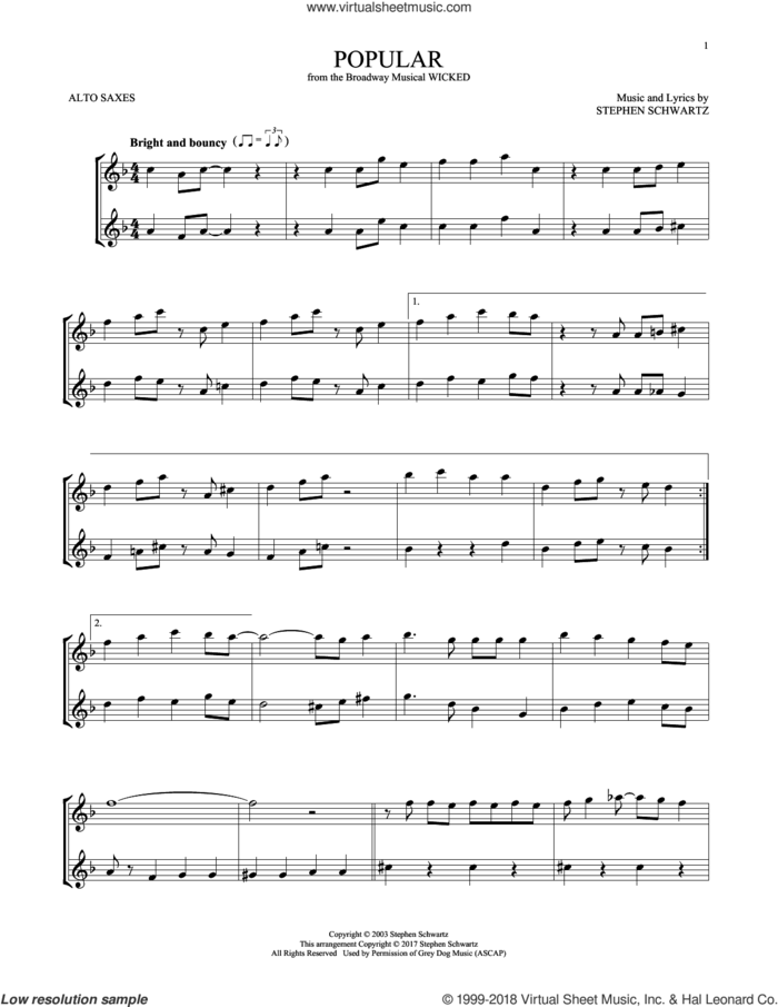 Popular (from Wicked) sheet music for two alto saxophones (duets) by Stephen Schwartz, intermediate skill level