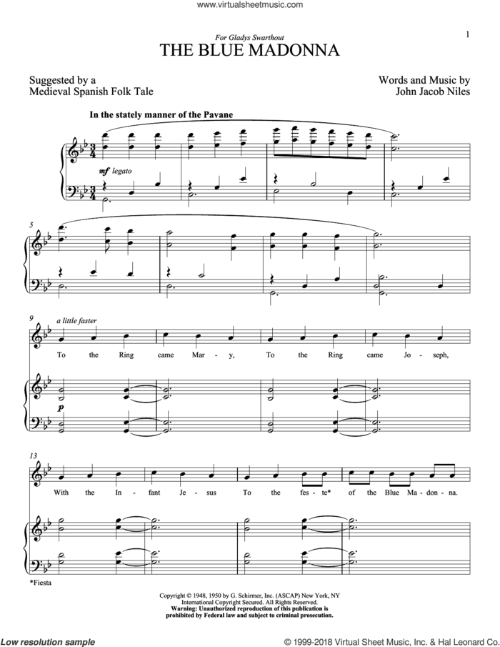 The Blue Madonna sheet music for voice and piano (High Voice) by John Jacob Niles, intermediate skill level
